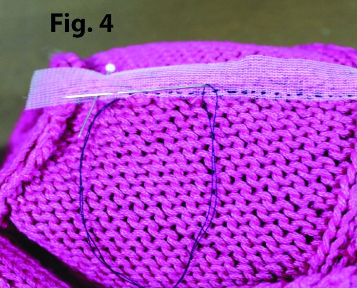 Sew the stay tape using the slip stitch method.
