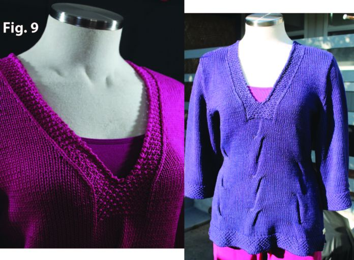 Garment shown on left with pomegranate and then on right over-dyed navy.